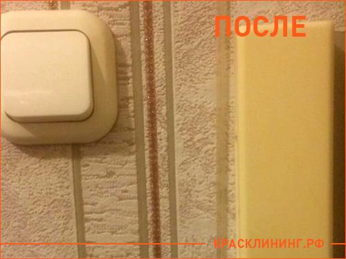 Результат чистки домофона и выключателя после профессиональной уборки квартиры