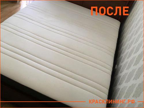 Чистка белой кровати от следов крови и мочи, готовый результат